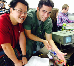 Two Loma Linda University el-MSOP students working on a project in class