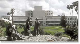 Good Samaritan Statue on the campus of Loma Linda University